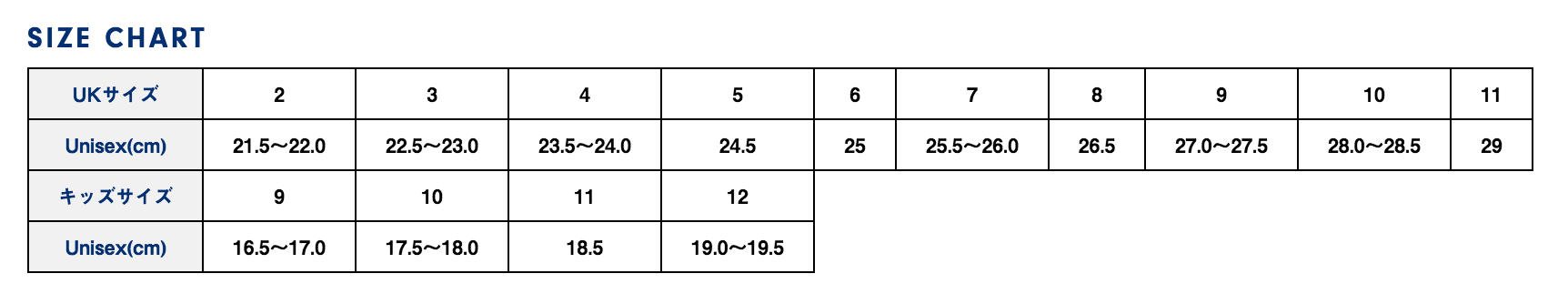 ブランドストーン  サイズ表