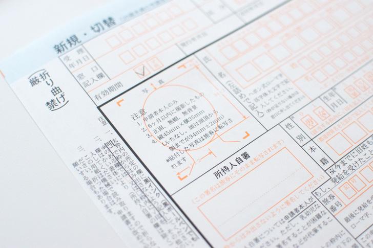パスポート写真と自署欄