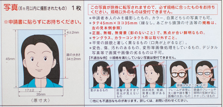 パスポート写真の規格