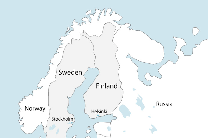北欧の地図