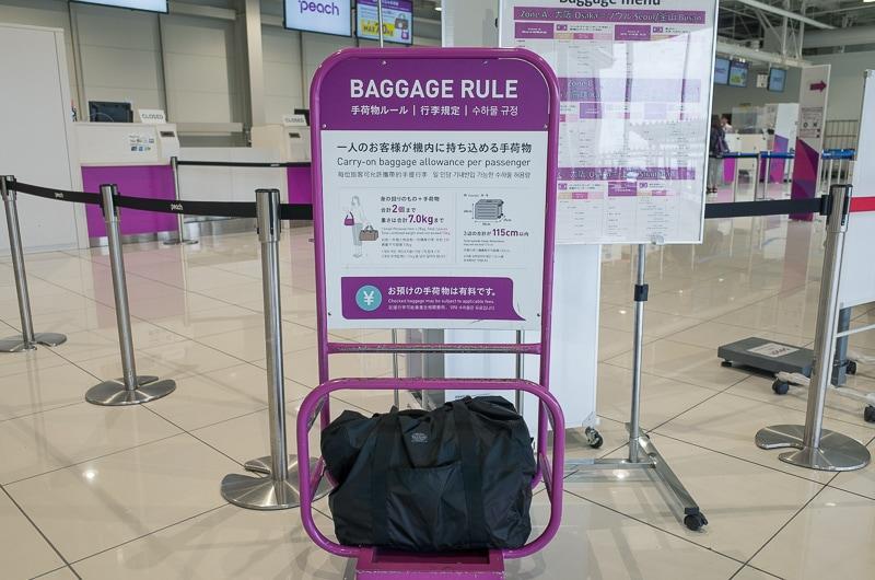 手荷物の大きさチェック